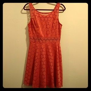 Coral Wet Seal Skater Dress